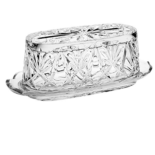 Majestic Gifts AC403 European Crystal Butter Dish with Cover, Clear