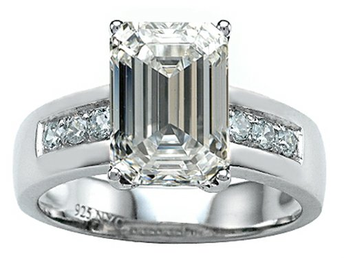 Star K Classic Octagon Emerald Cut 9x7 Ring with Genuine White Topaz Size 6