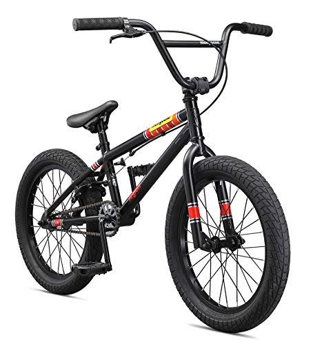 Mongoose Legion L18 Freestyle BMX Bike for Kids, Featuring Hi-Ten Steel Frame and Micro Drive 25x9T BMX Gearing with 18-Inch Wheels, Black - Mongoose Bmx Bike