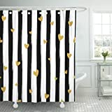 Pink and Gold Shower Curtain Emvency Shower Curtain Pink Pattern Gold Heart Confetti on Striped Red Black Waterproof Polyester Fabric 72 x 78 Inches Set with Hooks