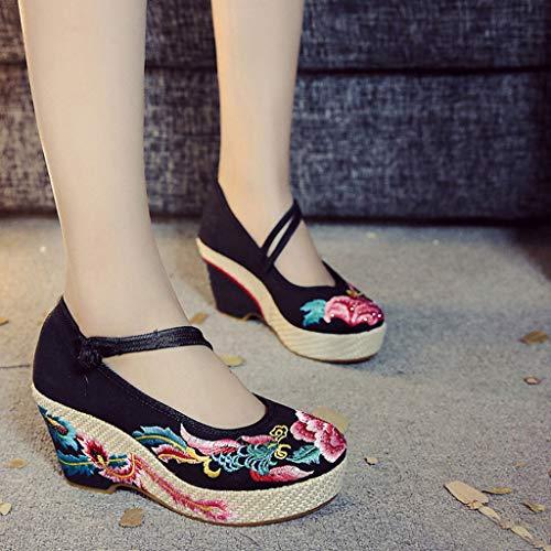 de Zapatos XHX 8cm tacón Zapatos Retro Transpirables Zapatos de Color Elegante cuña Alto Moda Bordados 38 Negro Negro tacón de de Tamaño Mujer de Srrq8