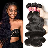 Jolia Hair 7A Grade Virgin Brazilian Body Wave Hair 3 Bundles 100% Unprocessed Human Hair Weave Extensions Can Be Dyed and Bleached Natural Color (12 14 16)