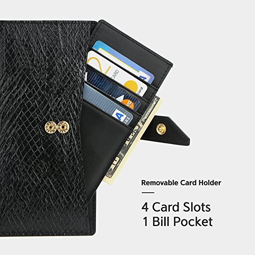 Galaxy Note 8 Case, DesignSkin [WALLET PLUS]: 2 in 1 Set Folio Flip Cover Case With Removable Card Holder Snap Closure 100% handmade Genuine Leather Unique Protective Cash Pocket Slot Storage (Black) by DesignSkin (Image #2)