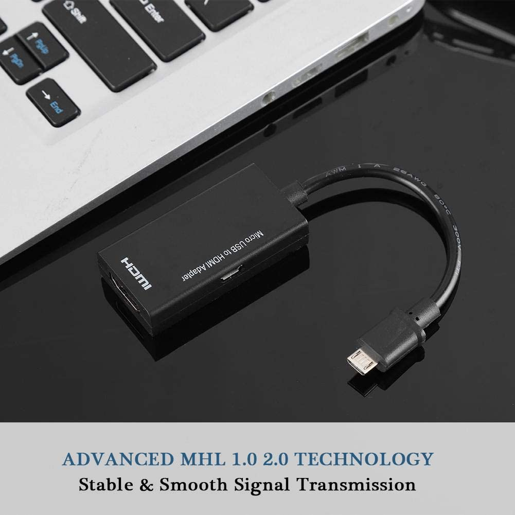Stable Signal Transmission,Wide Compatibility Super High Resolution up to 1080P and 8-Channel Stereo Sound Micro USB to HDMI Adapter Android Phone to HD TV Adapter