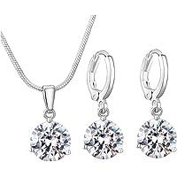 3Pcs Vrouwen zilveren sieraden Set zirkoon diamanten Waterdrop Ketting met oorbellen De beste keuze voor geschenken
