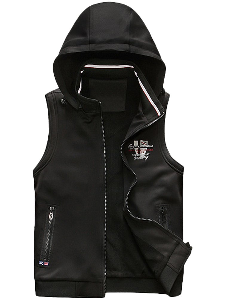 Vogstyle Men's Sleeveless Hoodie Vest Casual Slim Fit Zip up Vests Tank 2XL