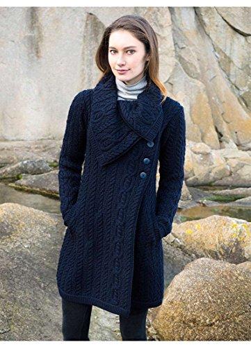100% Merino Wool Aran Crafts Ladies 3 Button Long Cardigan ()