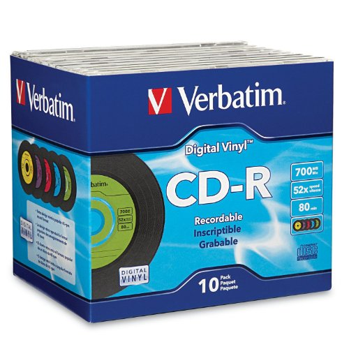 Verbatim CD-R 80min 52X with Digital Vinyl Surface – 10pk Slim Case 94439