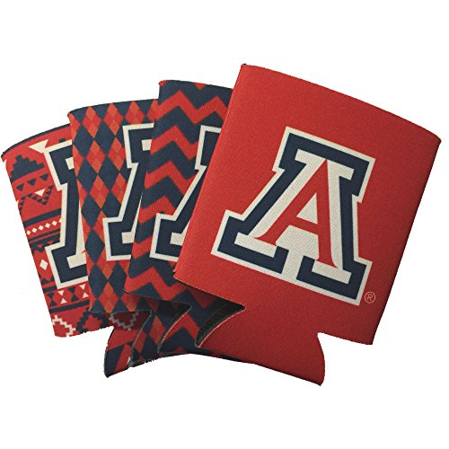 Jay Mac Sports NCAA 4-Pack Multi Color Sublimated Neoprene Beverage 12oz Insulated Can Hugger (Arizona Wildcats)