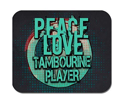 Makoroni - Peace Love Tambourine Player Music- Non-Slip Rubber Mousepad, Gaming Office ()