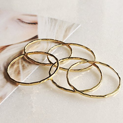 Set of 5 14k Gold Filled Dainty Little Plain Bands, Size 9 Stacking Rings ()