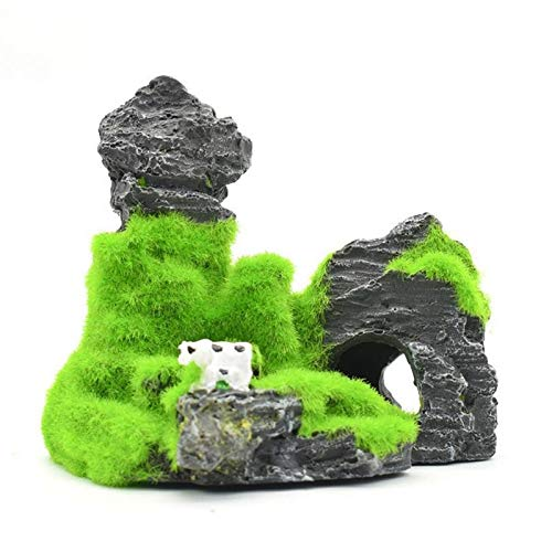 PatyHoll Artificial Plant Resin Aquarium Landscape Decor Fish Shrimp Nest Moss Rock Mountain Dodge House Flocking Rockery