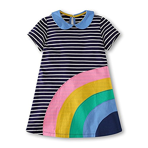 HILEELANG Little Girls Cotton Dress Short Sleeves Casual Summer Striped Printed Shirt by HILEELANG