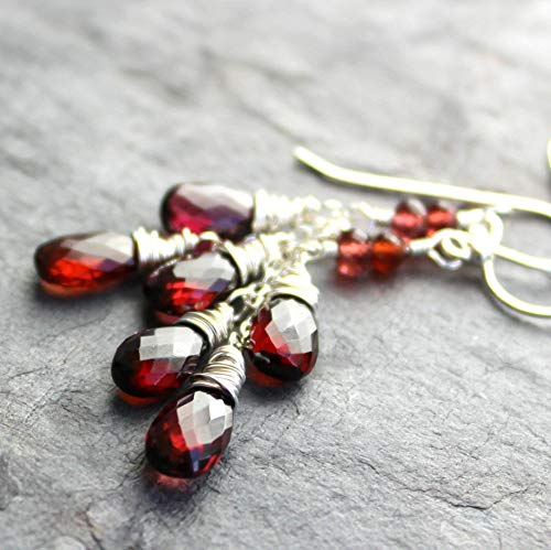- Garnet Earrings Dangling Teardrops Sterling Silver Red 2 Inch Faceted Briolettes Cascade