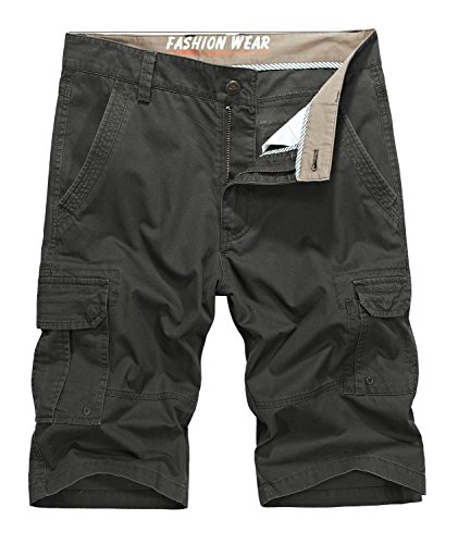 Vcansion Men's Cotton Relaxed Fit Outdoor Casual Twill Wear Lightweight Cargo Shorts Army Green US 40/Asia 42