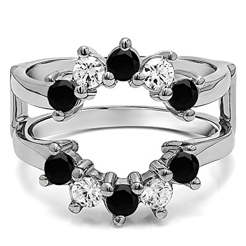 TwoBirch 0.2 ct. Black And White Diamonds (G-H,I2-I3) Sunburst Style Ring Guard with Gorgeous Round Stones in Sterling Silver (1/5 ct. twt.)