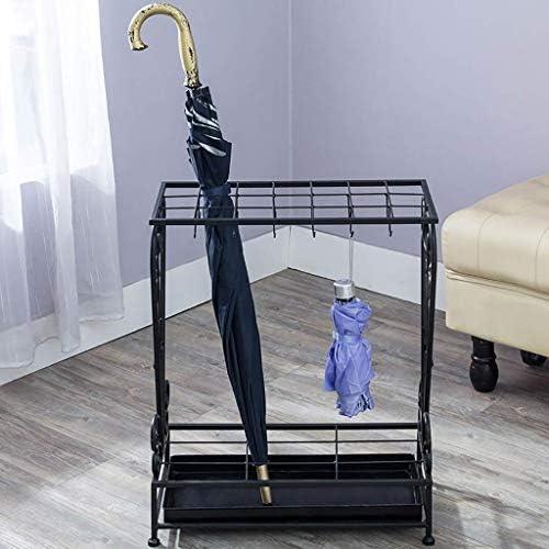 スタイル鉄の傘立てシンプルな収納箱ホテル/リビングルーム長いハンドルと短いハンドルの吊り折りたたみ傘立て(色:黒)