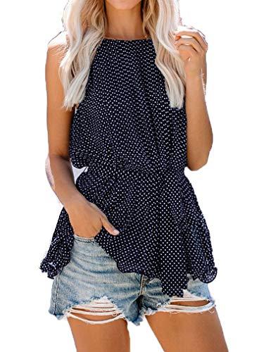 (Tobrief Chiffon Tank Tops for Women Tie Waist Halter Polka Dot Sleeveless Shirt(Navy Blue,XXL))