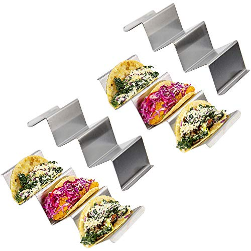 (Set of 4 Taco Holder Stands: Stainless Steel Taco Stand Up Holders - Metal Taco Tray and Taco Shell Rack for Baking or Serving Tacos - Dishwasher, Grill and Oven Safe - Taco Accessories Great for Kids )