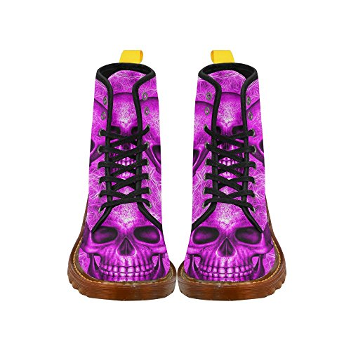 Leinterest Smiling Skull On Fibers Martin Botas Zapatos De Moda Para Mujeres