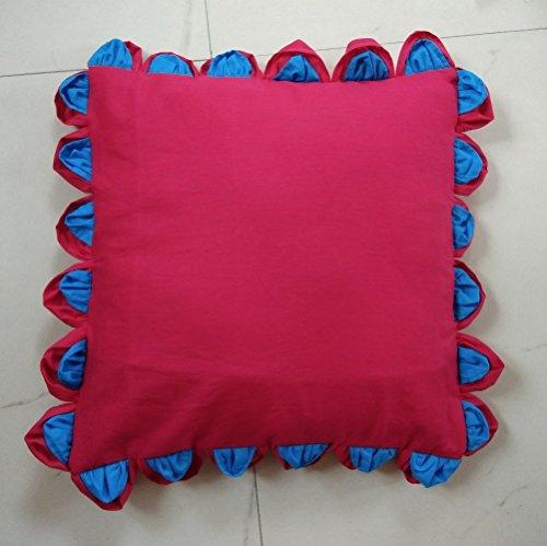 Teal Magenta Leaf edge Cotton Throw Pillow case cover 1 pc 16 X 16 Inch - Edge Pillowcases