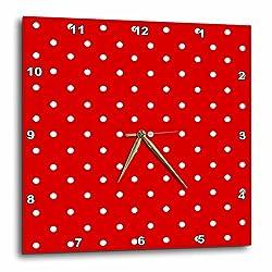 3dRose dpp_120246_1 Red and White Polka Dot Pattern Small Minnie Dots Stylish Retro Dotty Spotty Cute Classic Wall Clock, 10 by 10-Inch
