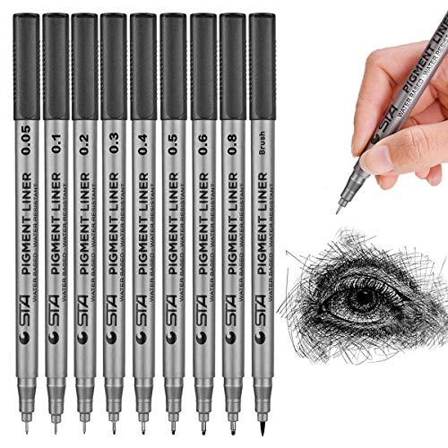 FHYHEJ Black Precision Micro Line Pens,Fineliner,Ultra Fine Point Drawing Pen Set,Waterproof Archival Ink,Artist Illustration Drawing, Design,Comic Making,Office Writing, Artist Illustration,9/Set (Black)