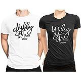 Hubby est Wifey est Month & Year Couple Matching T-shirt Honeymoon valentines day Men Large / Women X-Large | White - Black