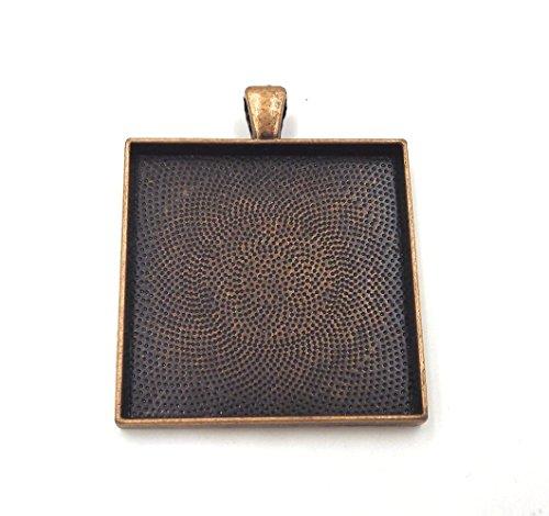 10 Deannassupplyshop Square Pendant Trays - Antique Copper - 35mm - Pendant Blanks Cameo Bezel Settings Photo Jewelry - Custom Jewelry Making