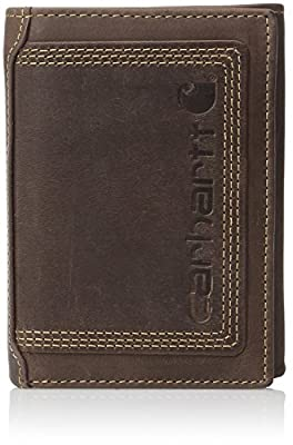 Carhartt Men's Top Grain Leather Trifold Wallet, Contrasting Stitch, Brown, One Size