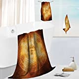 Luxury Bath Towel Collection Set Demon Trap Symbol Logo Ceremony Creepy Ritual Paranormal Design Orange Machine Washable, Super Soft 19.7''x19.7''-13.8''x27.6''-31.5''x63''
