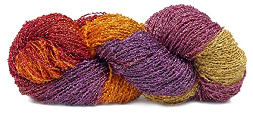 Fiesta Yarns Hand Dyed Starburst Rayon Boucle Yarn, (Crochet Salsa)