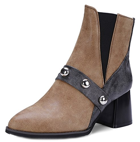 Toe Pointy Chunky Medium Aisun Brown Daily Women's Heels Booties Elastic wq4PUtE
