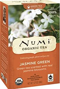 Numi Organic Tea Jasmine Green, (Pack of 3 Boxes) 18 Bags Per Box, Classic Green Tea Scented with Real Organic Jasmine Blossoms in Non-GMO Biodegradable Tea Bags