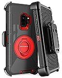 Galaxy S9 Case, Samsung Galaxy S9 Case, BENTOBEN Shockproof Heavy Duty Kickstand Swivel Belt Clip Hybrid Full Body Rugged Holster Protective Phone Case Cover for Samsung Galaxy S9 (SM-G960U),Black/Red