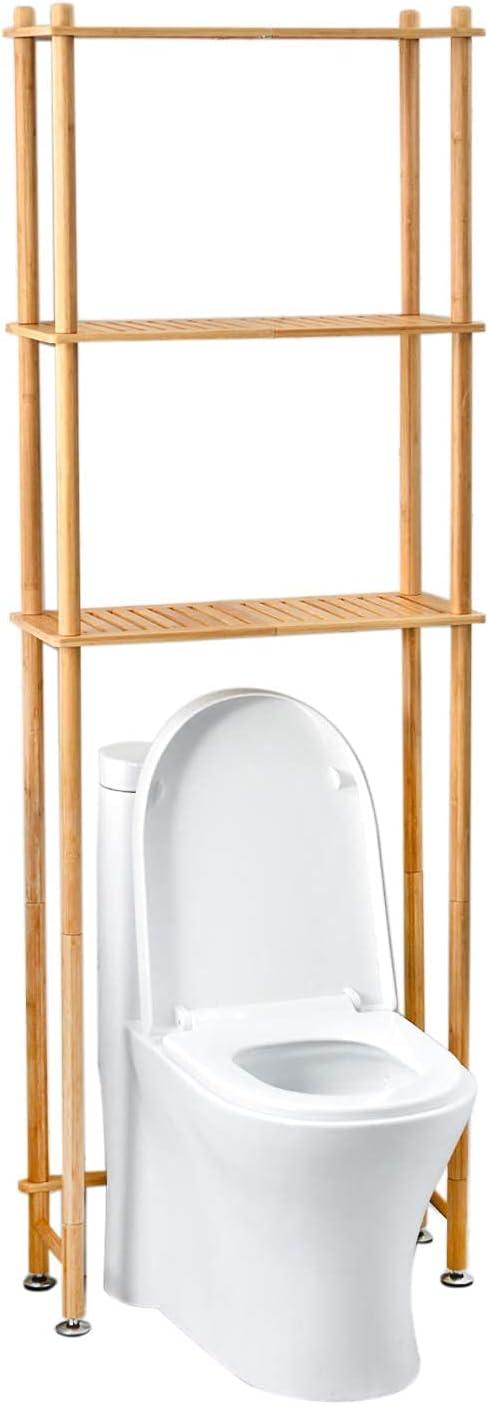 AmazerBath Over The Toilet Storage Rack, Bamboo Space Saver Organizer Over Toilet, 3-Tier Above Toilet Storage Shelf for Bathroom, Natural Color