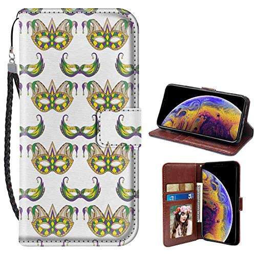 Apple iPhone Xr Wallet Case 6.1-Inch Mardi Gras Festive Pattern with Masks Traditional Carnival Celebration Costume Purple Green Yellow with ID Slot]()