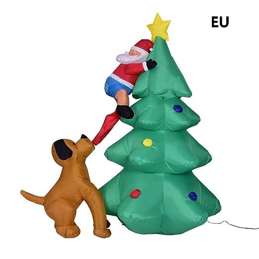 GUOQIAO✦ Árbol de Navidad inflable de 6 pies, Papá Noel escalando ...