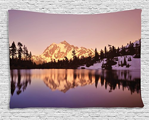 Ambesonne Lake House Decor Collection, Snow Capped Mt Shuksan and Lake at Sunset Evening View, National Forest Washington, Bedroom Living Room Dorm Wall Hanging Tapestry, 80 X 60 Inches, Yellow Purple