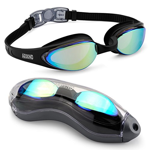 Aegend Mirrored Swimming Goggles No Leaking Anti Fog UV Protection...