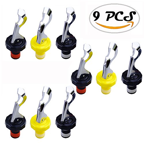 Oopsu 9 PCS Joie Expanding Bottle Stopper,Flip Top Wine Bottle Stopper,Bottle Stopper,Creates Airtight Seal,Wine & Bar,Three colors:Black & Red,Black & White,Yellow & White by Oopsu