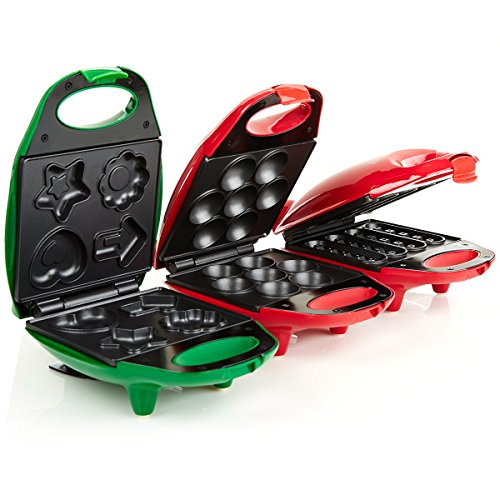 Holstein Housewares Mini Lines Holiday Fun Trio Waffle Stick, Brownie, Cupcake Maker