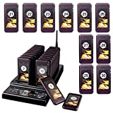 Retekess T112 Restaurant Pager System Queue Wireless Calling System Long Transmission Distance with 30 Coaster Pagers 999 Channel Keypad for Church Nursery Food Truck Coffee Shop