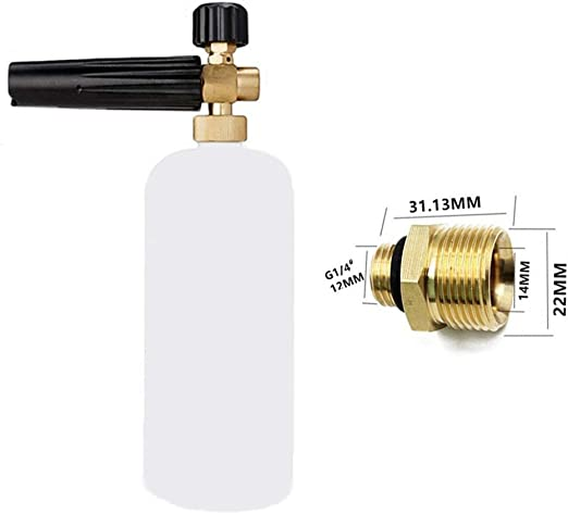 KKmoon Adjustable Foam Lance 1L Bottle Snow Foam Nozzle Injector Soap Foamer for Lavor Pressure Car Washer