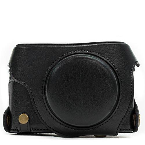 MegaGearEver Ready Protective Leather Camera Case, Bag for Panasonic LUMIX LX100, DMC-LX100 Camera (Black)