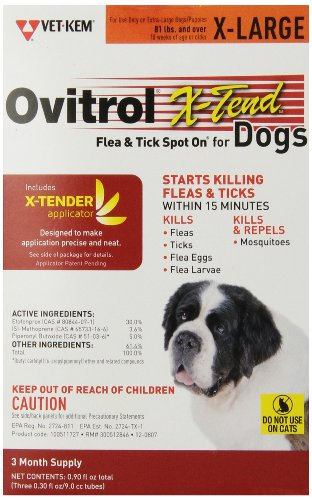 Vet-Kem Ovitrol 3-Pack X-Tend Pest Control Spot on for Dog, 81-Pound/X-Large
