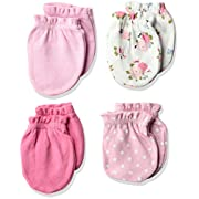Luvable Friends Baby Scratch Mittens, 4 Pack, polka dots/flowers, 0-6 Months