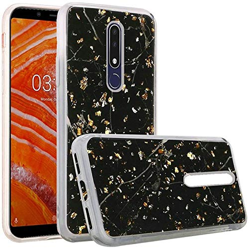 Insten Frozen Glitter Marble Chrome Hard Snap-in Case Cover Compatible with Nokia 3.1 Plus, Black