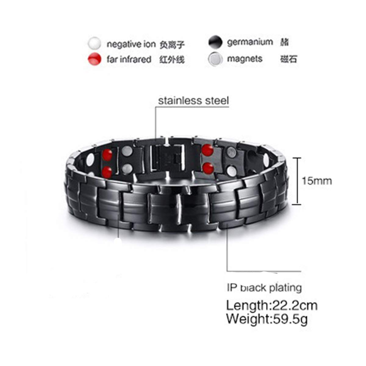 Vinca Mascot Mens Magnetic Therapy Bracelets Double Stong Health Magnets for Arthritis Pain Relief Father's Day, Black