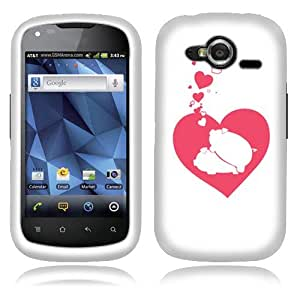 Fincibo (TM) Protector Cover Case Snap On Hard Plastic Front And Back For Pantech Burst P9070 - Honeymoon Pigs